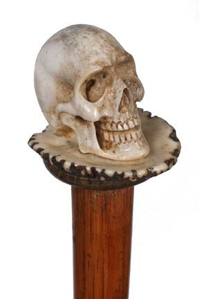 12. Stag Skull Cane-Ca. 1930-A carved full figured skul