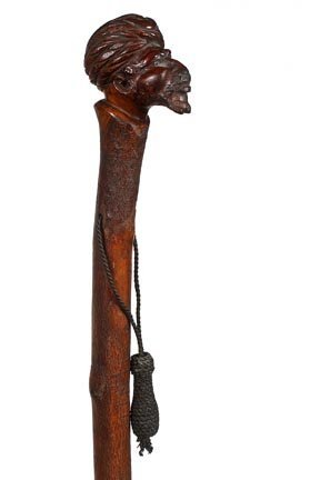 16. Carved Arab Cane-Early 20th Century-One piece carve