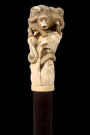 3. Japanese Export Ivory Cane-Meiji Period-A nice ivory