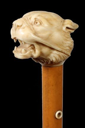 4. Ivory Tiger Cane-Ca. 1880-A very well carved ivory h