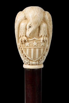 6. American Patriotic Bald Eagle Cane- 19th Century-Ivo