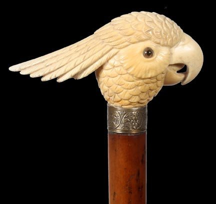 10. English Ivory Tropical Bird Cane-Late 19th Century-