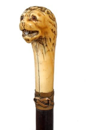 14. European Ivory Lion's Head Cane-Early 19th Century-