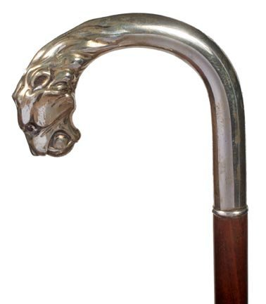 21. Sterling Lion Cane-Ca.1940-Sterling silver cat with