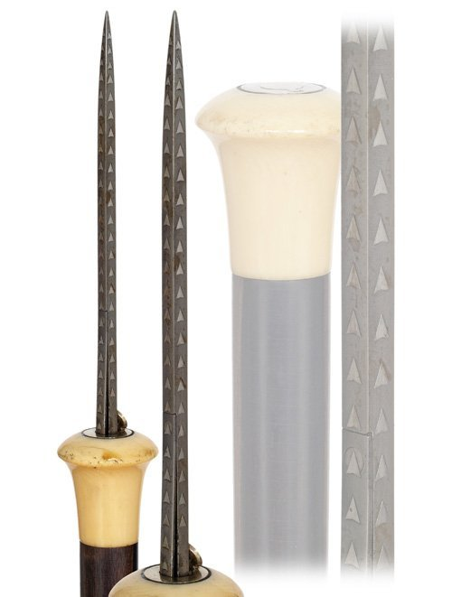 4: 4. Flick Stick Cane-19th Century.-An ivory knobbed e