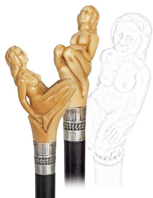 11: 11. Erotic Nude Cane-Ca. 1895-A large ivory Art Nou