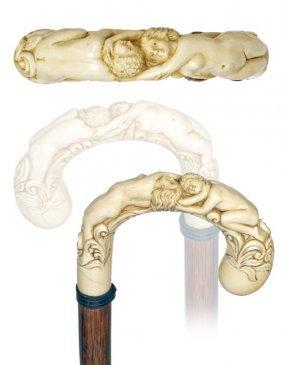 12. Ivory Love Depiction Cane-Ca. 1890-Large Ivory