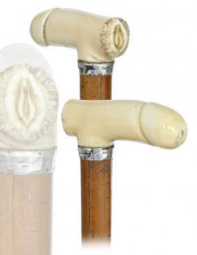 14: 14. Erotic Ivory Cane-Early 1900s-Ivory handle �H