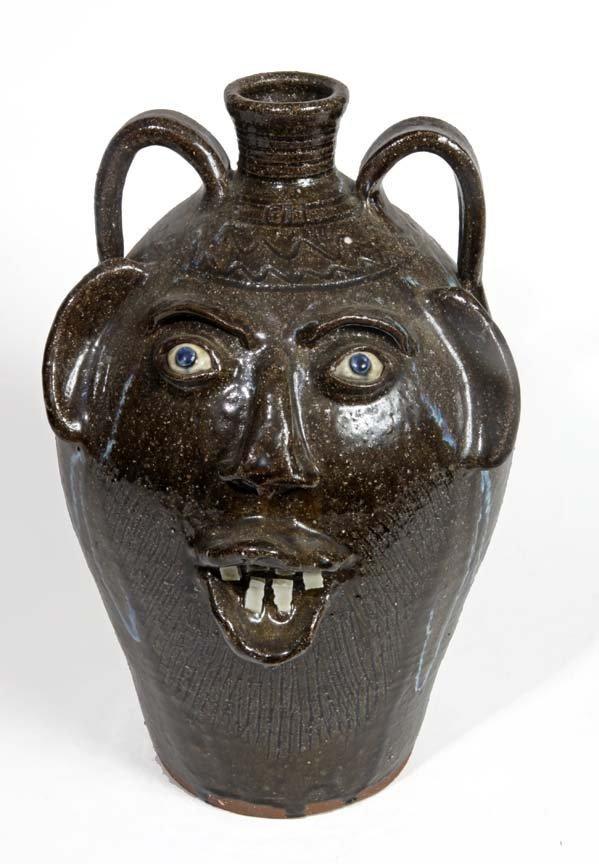 "Southern Folk Pottery-Charles List-18"" face jug, glass"