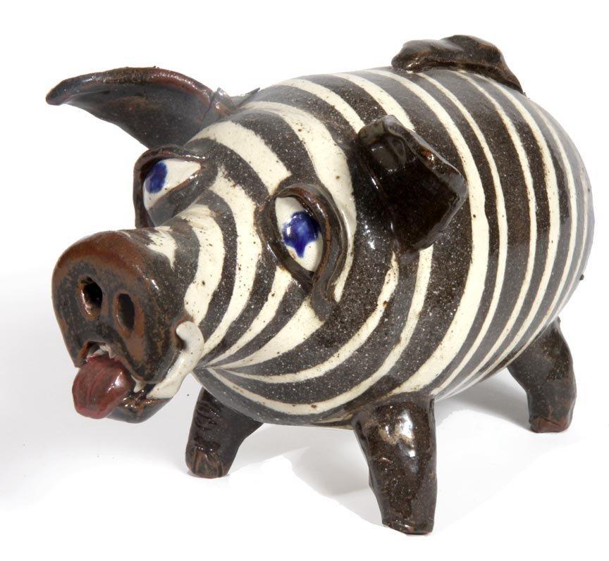 "Southern Folk Pottery-Albert Hodge-7"" x 10"" swirl pig j"