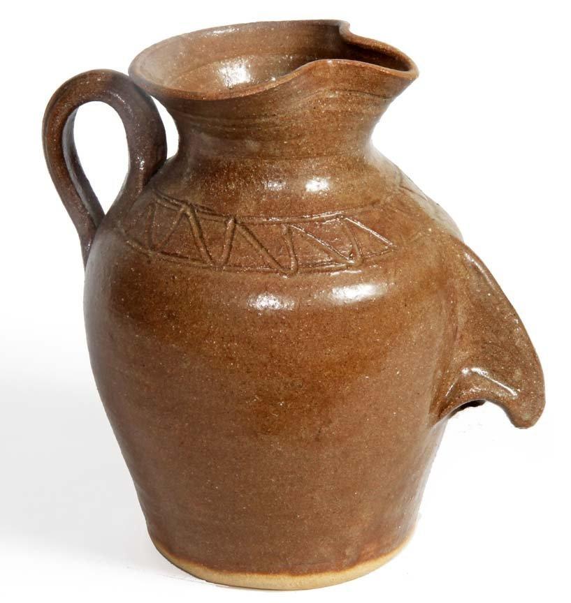 """Southern Folk Pottery-Dwayne Craig-9 1/2"""" face pitcher,"""