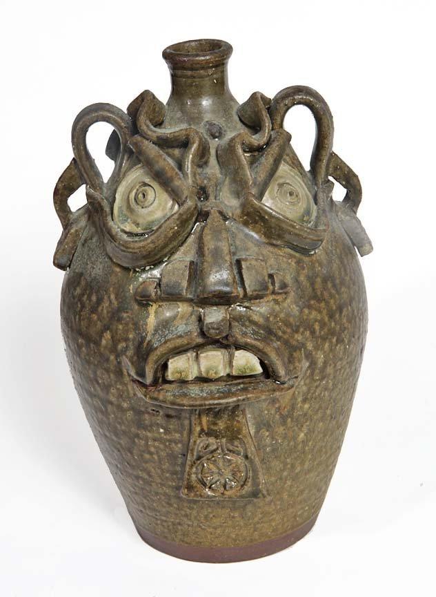 "Southern Folk Pottery-Kim Ellington-12"" face jug, 1991"