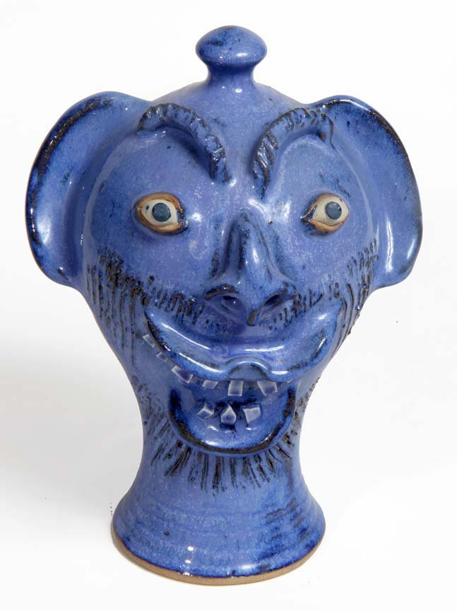 Southern Folk Pottery-Charles Lisk (signed CL)-Blue fac