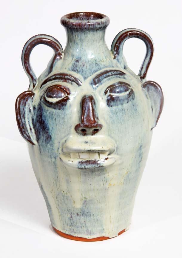 Southern Folk Pottery-Walter Fleming-Creamy glazed face
