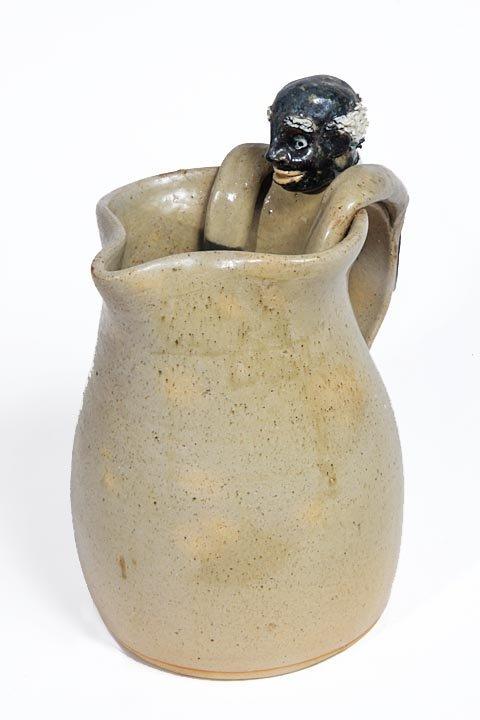 Southern Folk Pottery-Wilford Dean-Black man handle pit