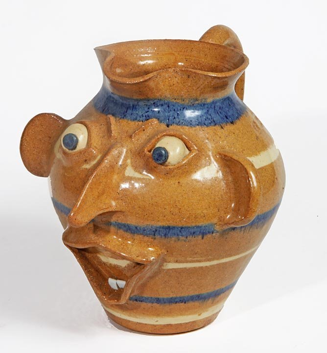 Southern Folk Pottery-Gary ?-Blue and cream swirl face
