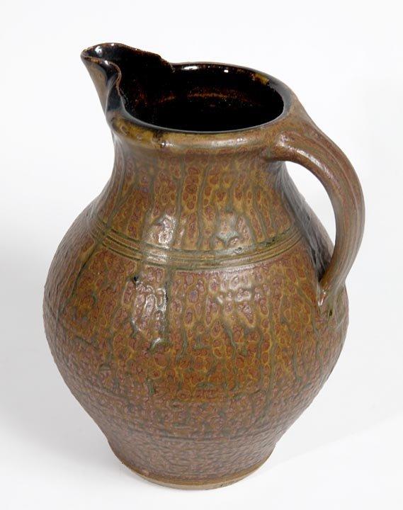 """Southern Folk Pottery-Tucker-Molted glazed pitcher, 11"""""""