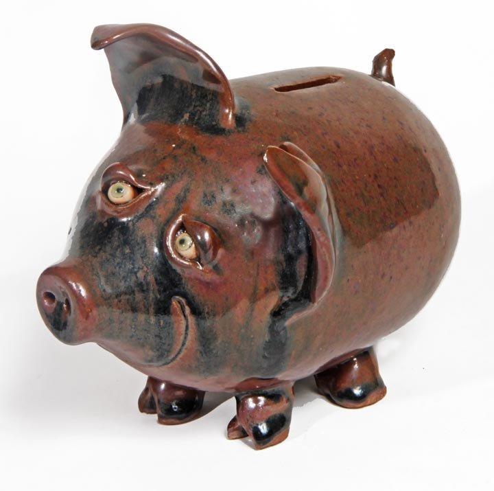 """Southern Folk Pottery-Potlick-Standing pig bank, 7"""" x 8"""