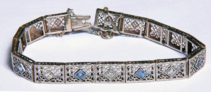 Art Deco Filigree White Gold Bracelet-Circa 1925- Three