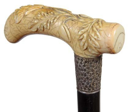 9. Floral and Berry Ivory Cane- Ca. 1880- A large handl