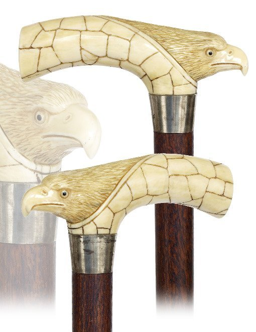 19. Ivory Eagle Cane-Ca. 1890-Substantial Opera shaped
