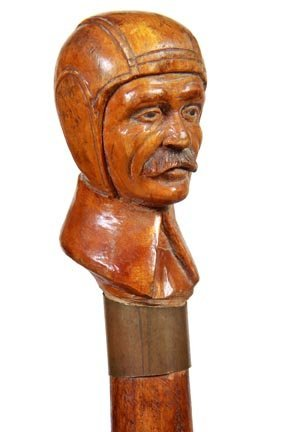 4. Aviator Carved Cane-Ca. 1925-A finely carved pilot's