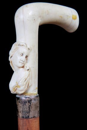 11. Ivory Erotic Cane-Ca. 1875-An ivory handle with an