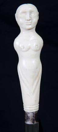 17. Nude Ivory Dress Cane-Ca. 1900-A primitive ivory ca
