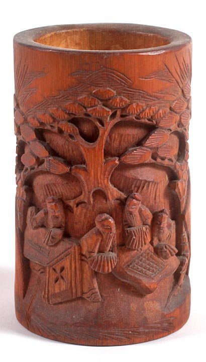"Chinese bamboo carved brush pot  5"" x 3"" x 3"""