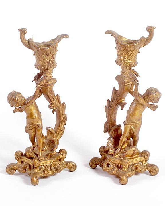 Cast iron Victorian candle sticks w/early gold paint fi