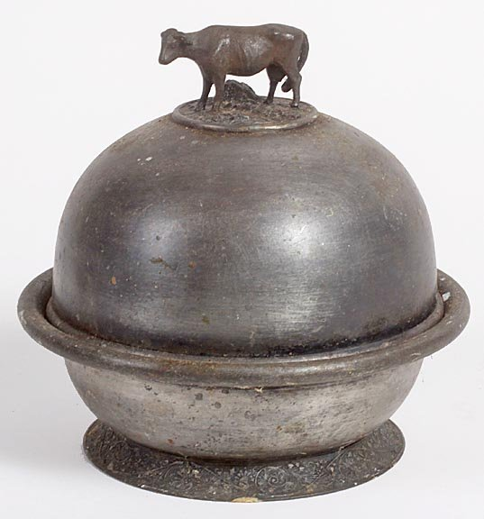 Silver-plate cow butter dish, by Rogers, most plate is