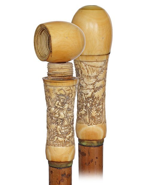 9. Pomander Cane-Ca. 1880-Very large ivory handle with