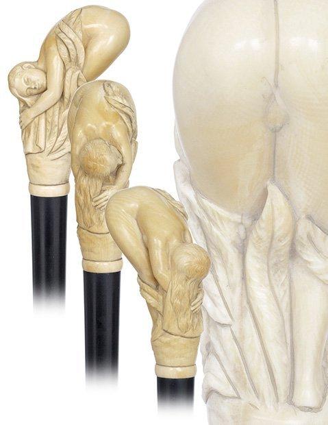 11. Erotic Ivory Cane-Circa 1890-A museum quality carvi