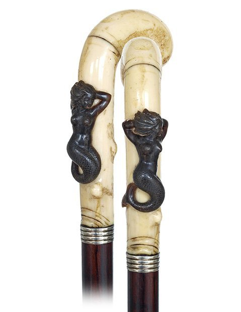 12. Mildly Erotic Siren Cane-Ca. 1870-Walrus ivory pist