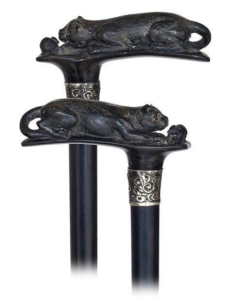 13. Horn Cat and Mouse Cane-Early 1900s-Horizontal blac