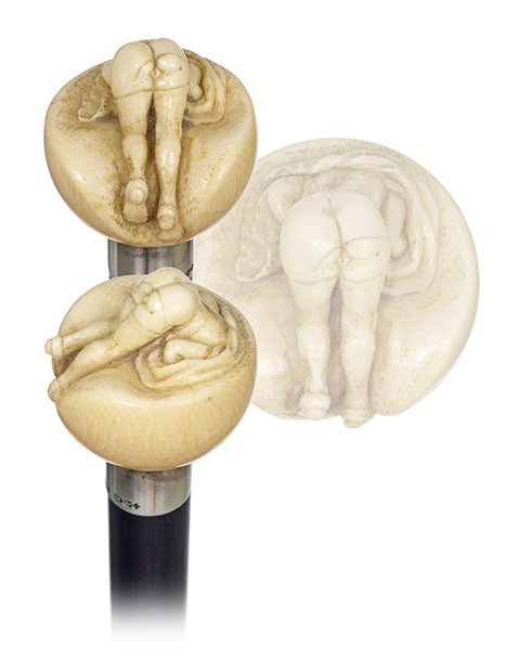 14. British Buttock Erotic Cane-Late 19th Century-Eroti