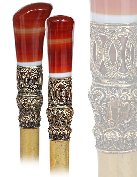15. Parade Hard Stone Dress Cane-Ca. 1870-Red and white