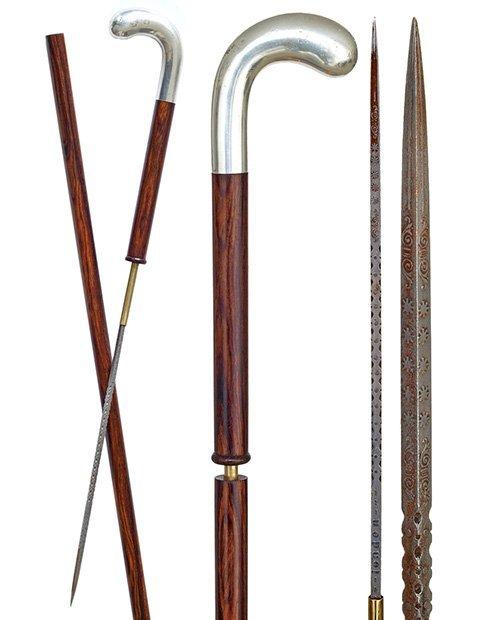 22. Sword Cane-Ca. 1890-Silver pistol grip handle on a