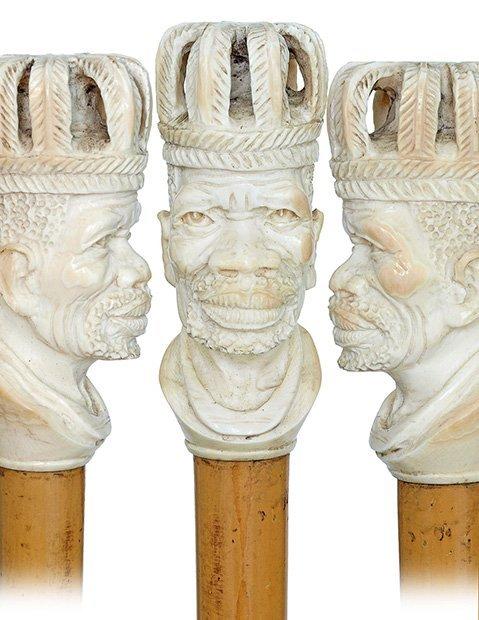 23. Ivory Portrait Cane-Ca. 1910-Giant ivory handle dep