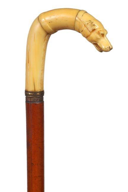 23. Ivory Dog Dress Cane-Ca. 1870-A walrus ivory