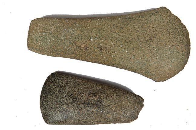 "Two Stone Celts, Largest 7 1/2"" x 3 1/2"""