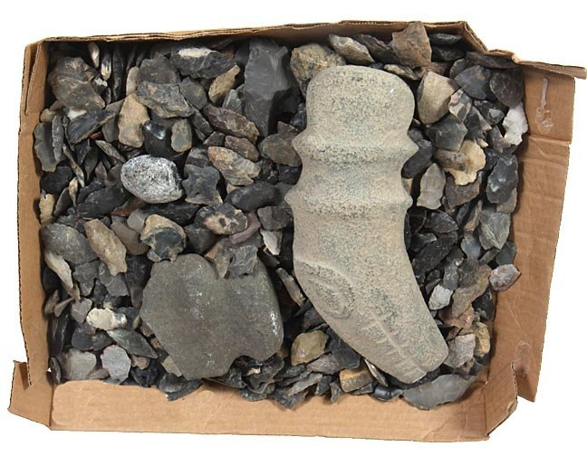 Box lot of Native American rocks