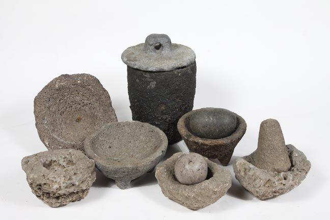 Group of Indian pots, mortar and pestals