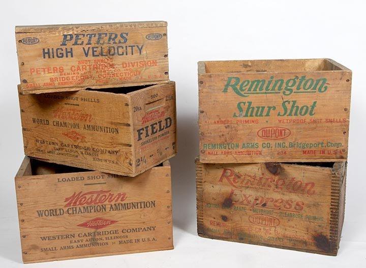 Group wooden ammunition boxes