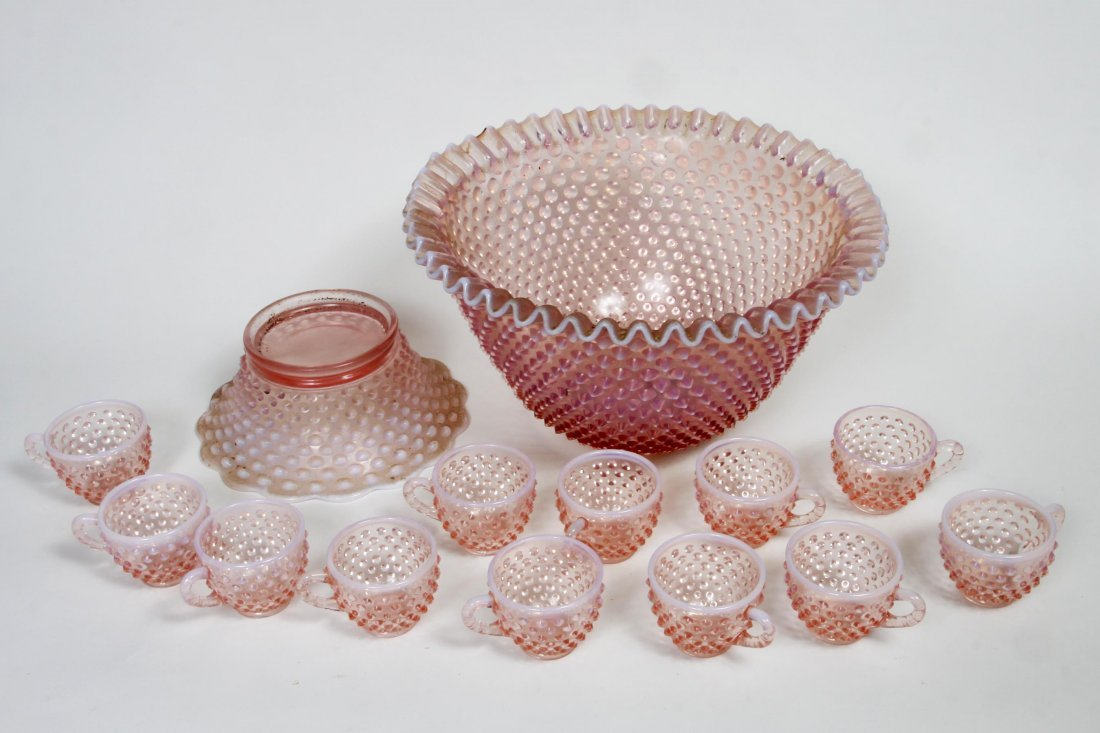Hobnail Fenton punch bowl and cups