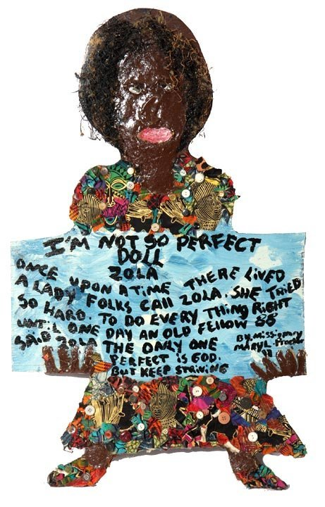 "Mary Proctor, ""Not So Perfect"", paint, buttons, fabric"