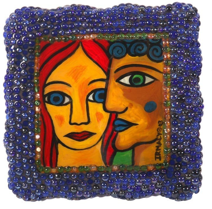 "Irmacy , ""Faces"" Paint on board with glass beads and"
