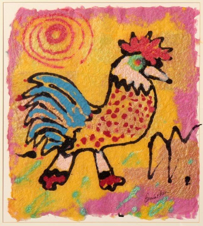 "Beverly Plummer, ""Rooster"", pigment on handmade"