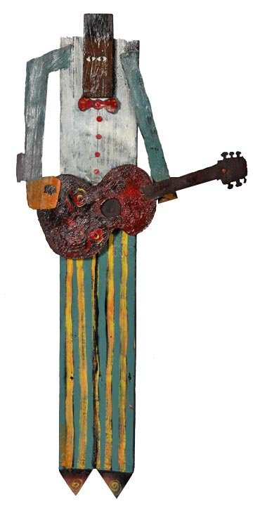 "Cannon, ""Man with Guitar"", painted wood and metal, 35"