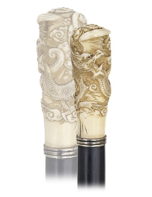 19. Asian Ivory Dress Cane-Ca. 1890-Ivory knob with a